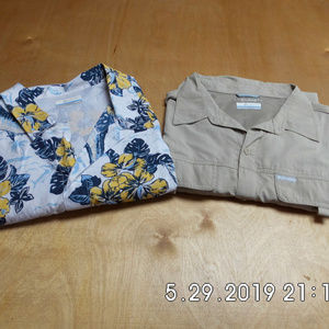 2 Mens Columbia Omni-Shade L/S Floral S/S Shirt XL